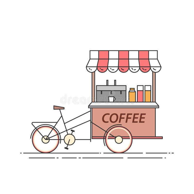 Bicyle del café Carro en las ruedas Comida y quiosco de la bebida Ilustración del vector Línea arte plana libre illustration