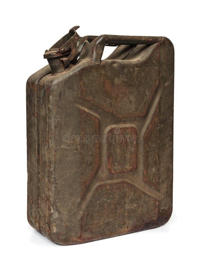 Bidón del combustible del ejército de la vendimia aislado en blanco fotos de archivo