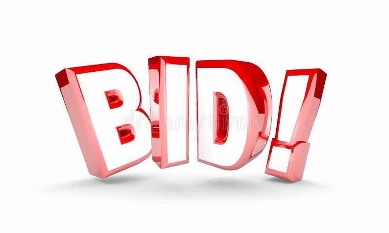 Bid Auction Buy Item Product High Price Win Word. 3d Illustration vector illustration