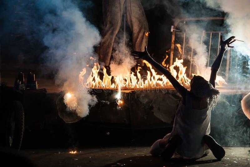 Bid bij brand Carnaval in Moskou royalty-vrije stock afbeelding