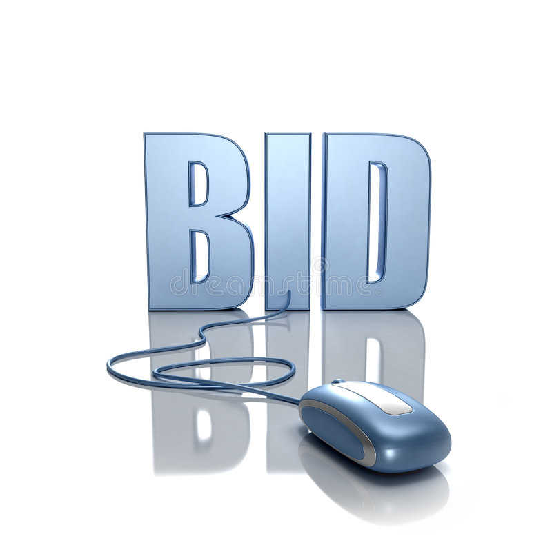 Bid in Internet. 3D rendering of the word BID connected to a computer mouse