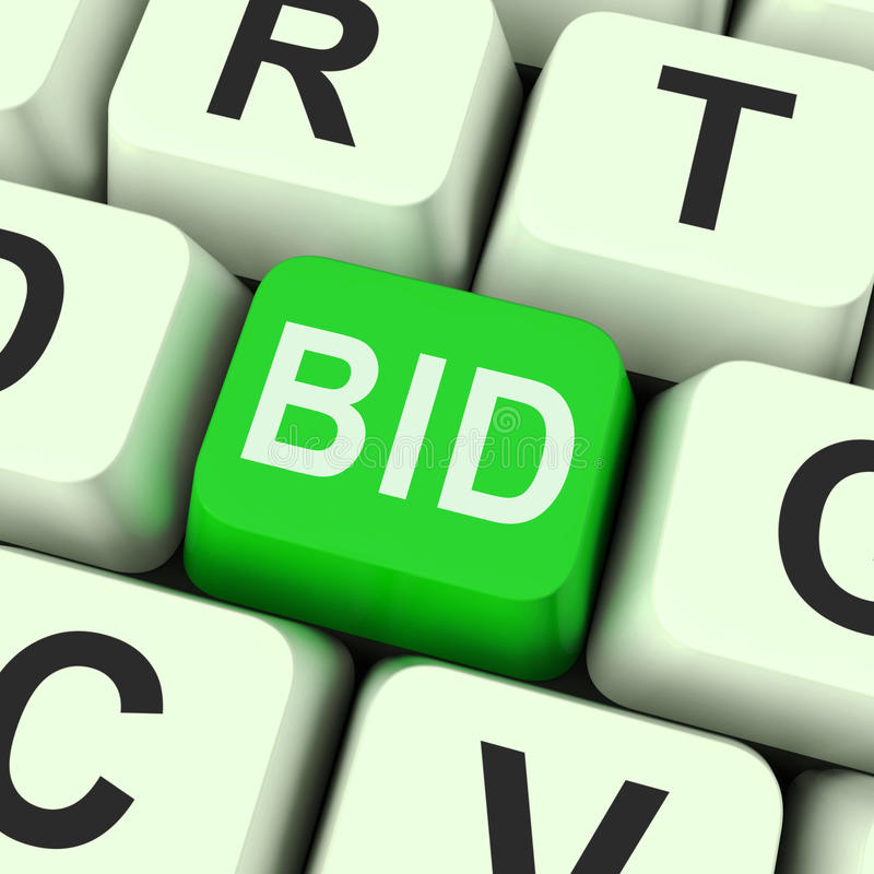 Bid Key Shows Online Auction Or Bidding royalty free illustration