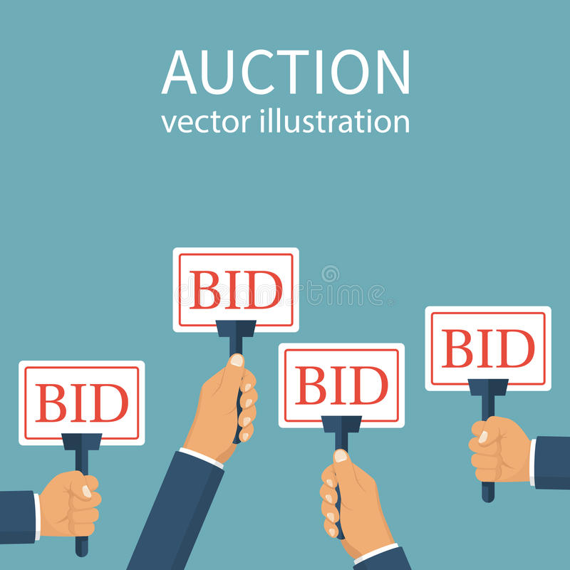Bid sign in hand of people. Auction meeting. Business bidding process concept. Vector illustration flat design. Isolated on background. Template for open trade stock illustration