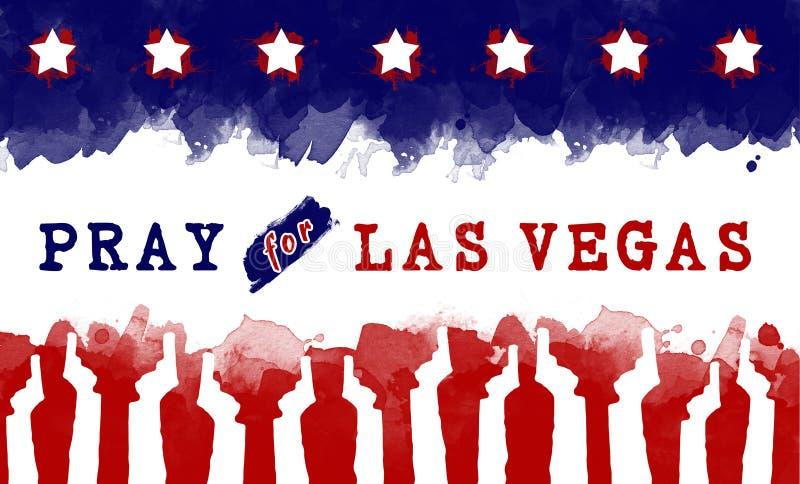 Bid voor Amerika bid voor lasvegas op de vlag van Amerika De controle van het kanon vector illustratie