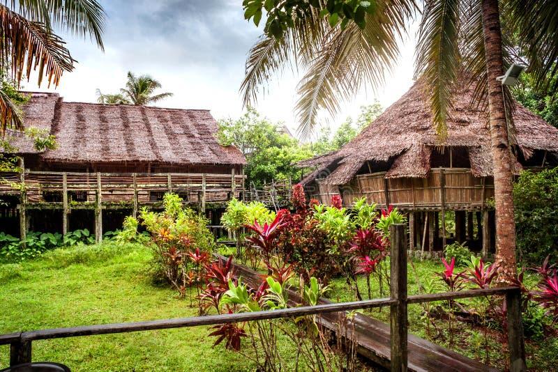 Bidayuh Longhouse在博物馆村庄沙捞越文化村庄 库存图片