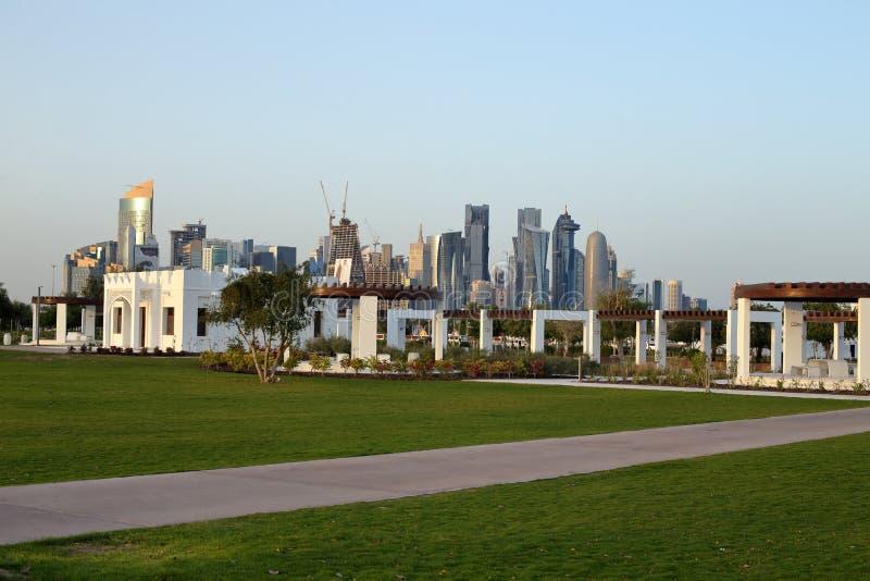 Bidda Park in Doha, Qatar. BIDDA PARK, Doha, Qatar - March 21, 2018: View of buildings in the newly opened Bidda Park in the centre of Qatar`s capital, with Doha royalty free stock photos