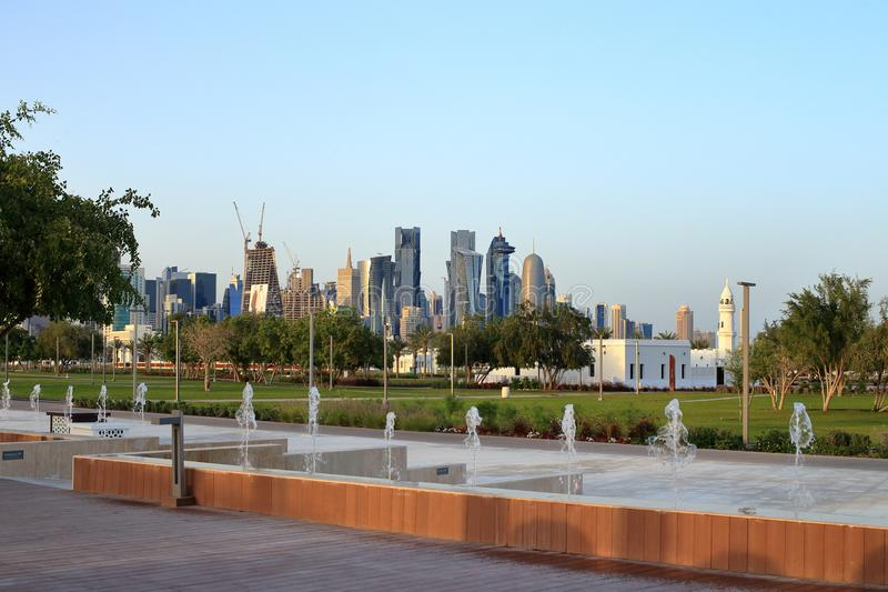 Bidda Park fountains in Doha. BIDDA PARK, Doha, Qatar - March 21, 2018: View of fountains in newly opened Bidda Park in the centre of Qatar`s capital royalty free stock images