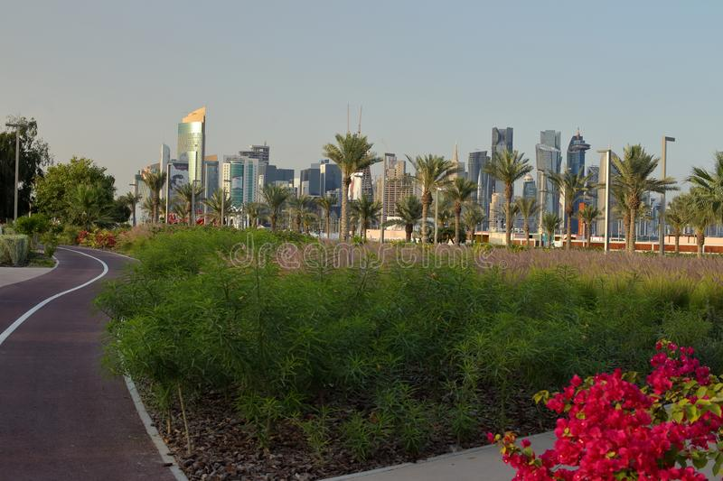 Bidda Park view and cycle track. BIDDA PARK, Doha, Qatar - March 21, 2018: View of the newly opened Bidda Park in the centre of Qatar`s capital stock images
