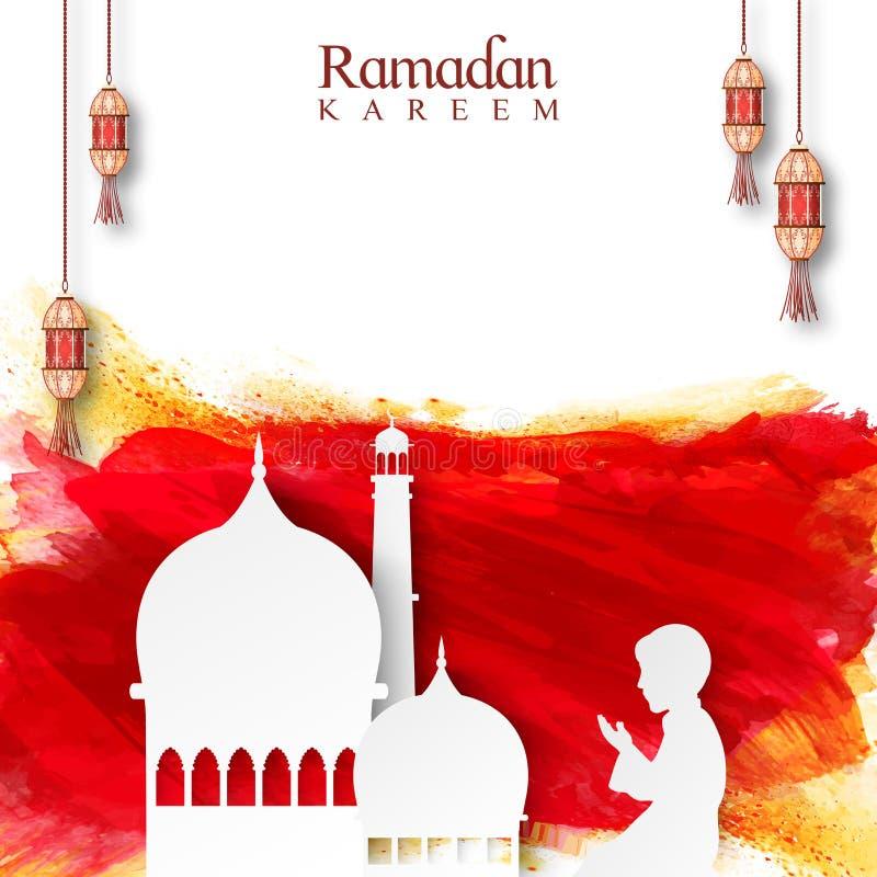 Biddende jongen voor Moskee voor Ramadan vector illustratie