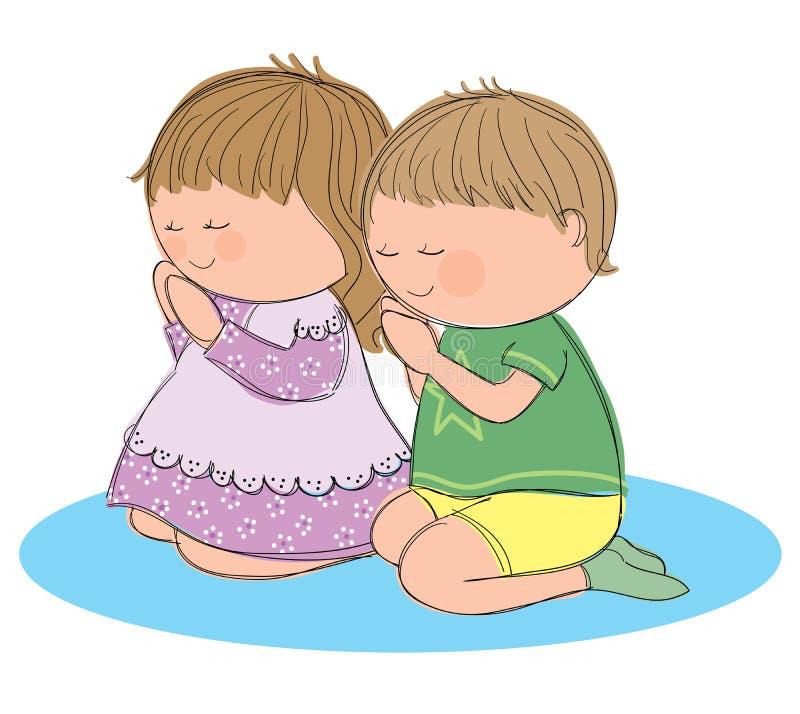 Biddende kinderen royalty-vrije illustratie