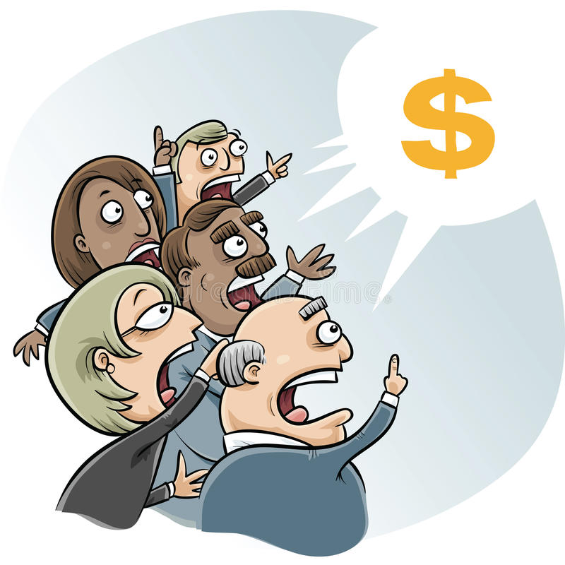 Bidding Business Cartoon stock illustration