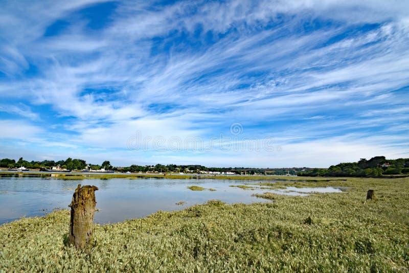 Bideford, North Devon, England. 13th July 2017 - The new bridge across the River Torridge at Bideford in North Devon, England, taken from the Tarka Trail royalty free stock images