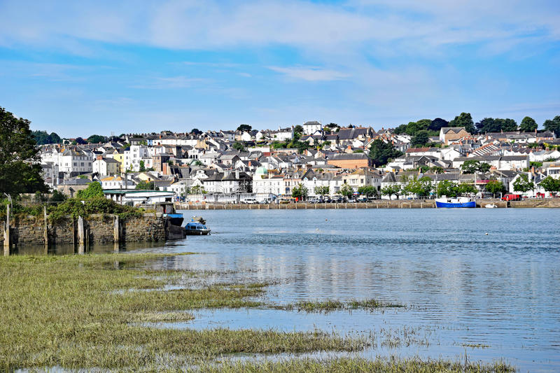 Bideford, North Devon, England. 13th July 2017 - The quay and old bridge in the port of Bideford in North Devon, England, taken from the Tarka Trail looking stock photos