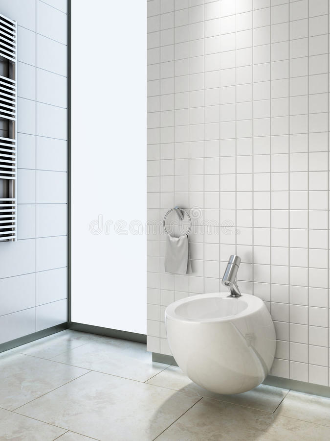 Bidet in wc. Bidet in empty bathroom without furniture vector illustration