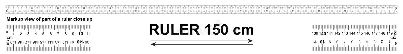 Bidirectional ruler 150 cm or 1500 mm. Used in construction, engineering, clothing manufacturing, carpentry stock illustration