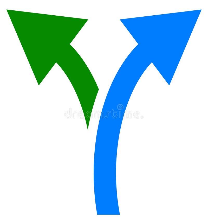 Bidirectioneel pijlsymbool, pijlpictogram Gebogen verlaten en juiste pijlen royalty-vrije illustratie