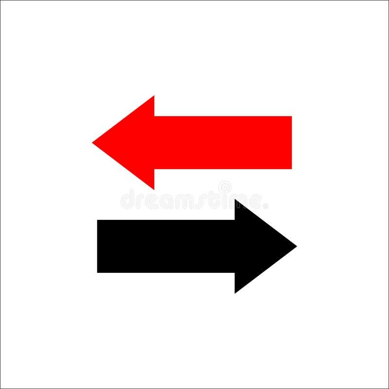 Bidirectionele verlaten pijlen en juiste richtingen tegenover vector illustratie
