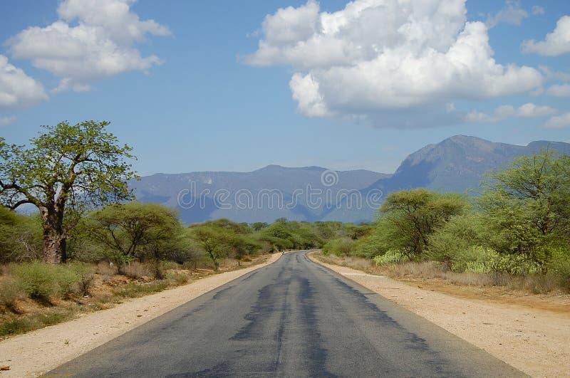 Bidirectionele Weg over het Land - Tanzania royalty-vrije stock foto
