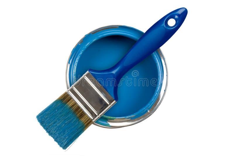 Bidon bleu de peinture images libres de droits