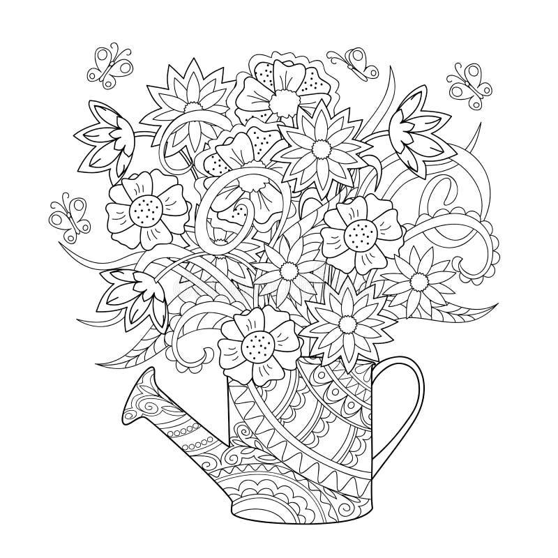 Bidon d'arrosage avec des fleurs illustration libre de droits