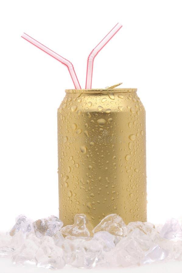 Bidon de bicarbonate de soude avec deux pailles photos stock