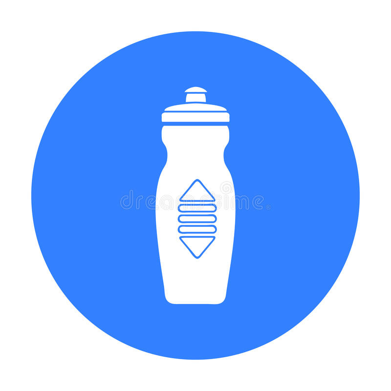 Bidon ikona w czerń stylu odizolowywającym na białym tle Sporta i sprawności fizycznej symbolu zapasu wektoru ilustracja ilustracji
