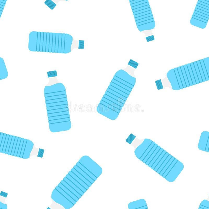 Bidon ikony bezszwowy deseniowy tło Plastikowa sodowanej butelki wektoru ilustracja Ciecza symbolu wodny wzór ilustracji