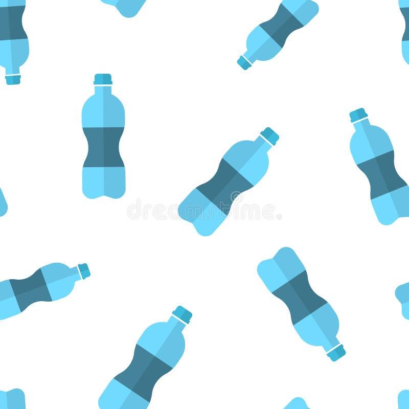 Bidon ikony bezszwowy deseniowy tło Plastikowa sodowanej butelki wektoru ilustracja Ciecza symbolu wodny wzór ilustracja wektor