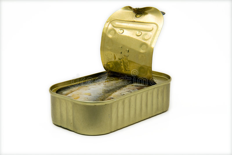 Bidon ouvert de sardines photographie stock libre de droits