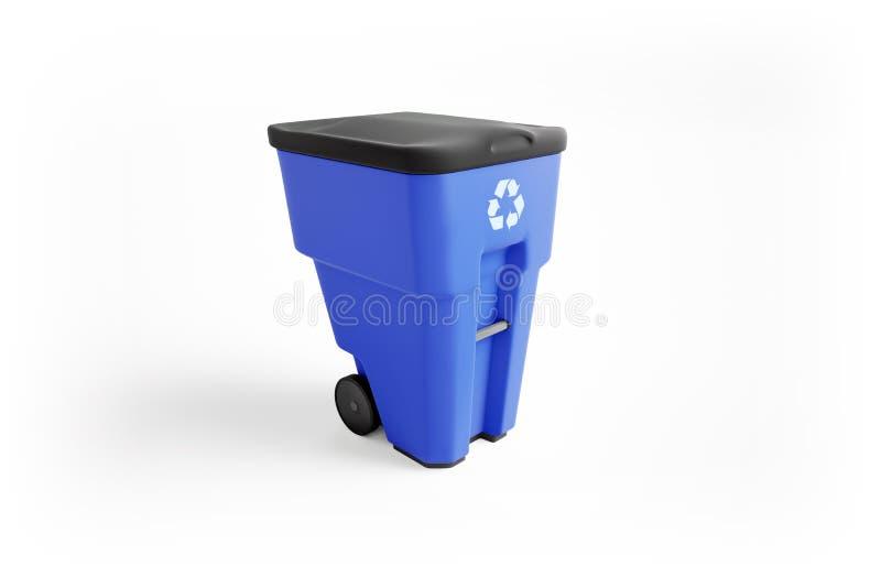 Bidone della spazzatura di plastica blu con il riciclaggio del logo illustrazione vettoriale