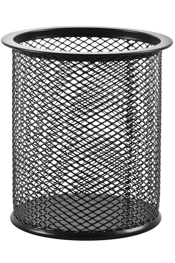 Bidone della spazzatura vuoto su un fondo bianco immagine stock libera da diritti