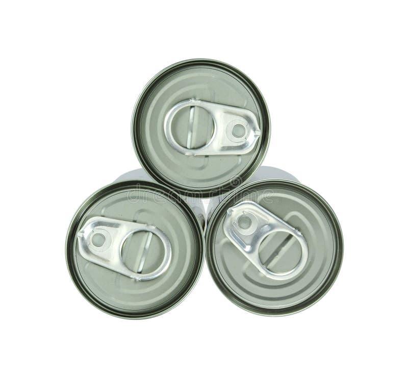 Bidons en aluminium et traction de boucle images stock