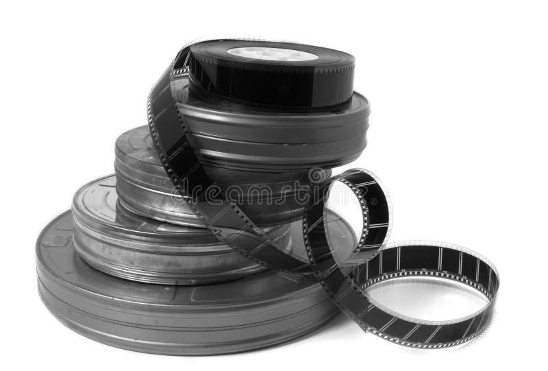 Bidons et remorque de film de film (noirs et blancs) photo stock