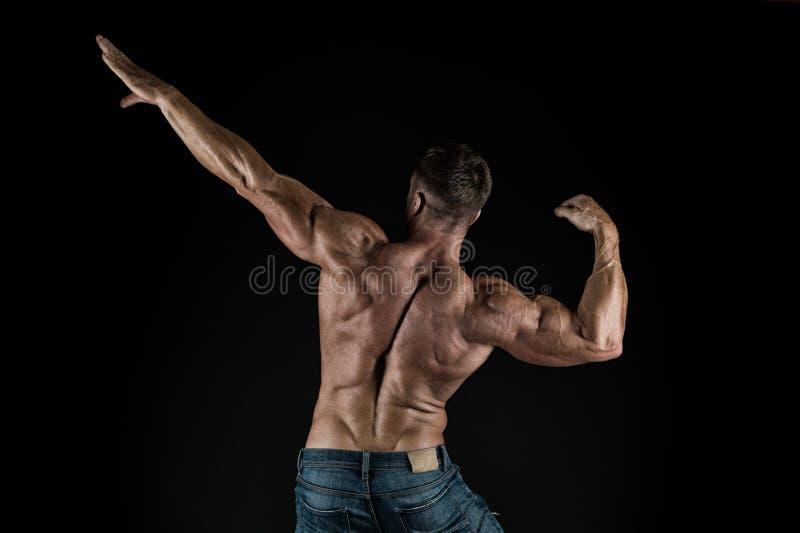 Bidra till välbefinnande till och med kropputbildning Muskulös idrottsman efter sikt för muskelutbildningsbaksida på svart bakgru arkivbilder