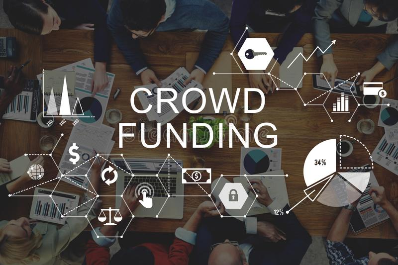 Bidraget för investeringen för folkmassafinansieringsupportrar lurar det Fundraising royaltyfri bild