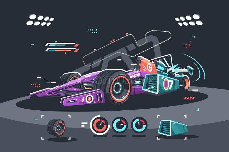 Bieżny samochód F1 ilustracja wektor
