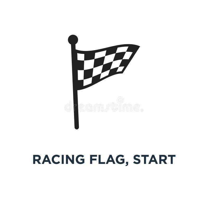 bieżna flaga, początku kona zwycięzcy ikona auto samochodowy turniejowy conc ilustracja wektor
