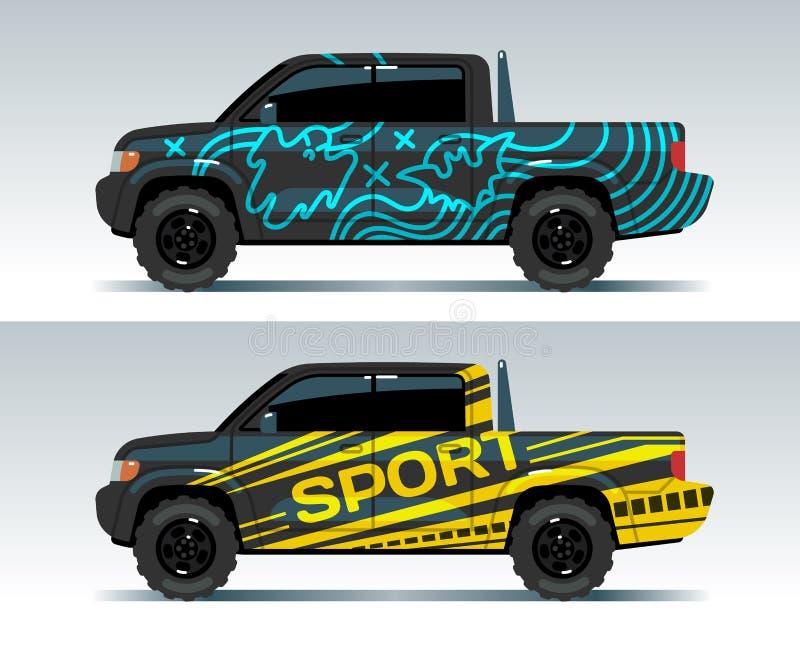 Bieżnego samochodu grafika Ciężarowy opakunkowy tło Pojazd oznakuje wektorowego projekt ilustracji