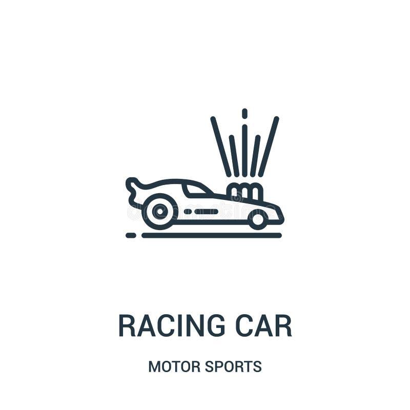 bieżnego samochodu ikony wektor od motorowych sportów inkasowych Cienka kreskowa bie?nego samochodu konturu ikony wektoru ilustra royalty ilustracja