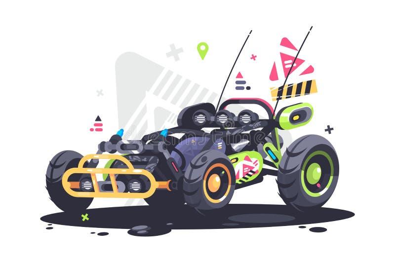 Bieżnego samochodu powozik ilustracja wektor