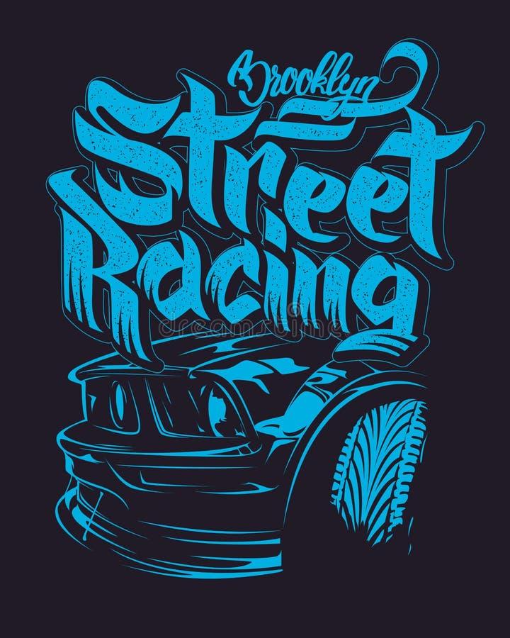Bieżnego samochodu typografia, koszulek grafika, pisze list royalty ilustracja
