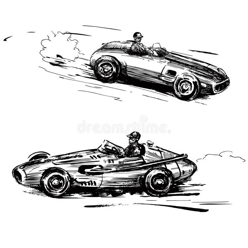 Bieżni roczników samochody royalty ilustracja