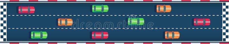 Bieżni sportów samochody iść koniec Motorsport nowożytny samochód Mieszkanie odgórnego widoku wektoru stylowa ilustracja royalty ilustracja