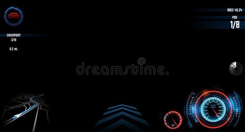 Bieżny gemowy interfejsu ekranu szablon ilustracja wektor