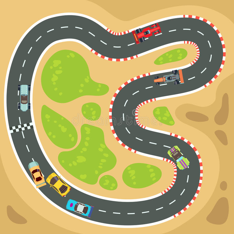 Bieżny komputer i app gemowy wektorowy tło z odgórnego widoku sportowymi samochodami na biegowym śladzie ilustracja wektor