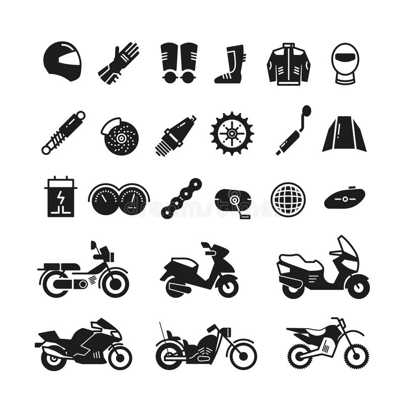 Bieżny motocykl, motocykl części i transportu wektoru ikony, royalty ilustracja