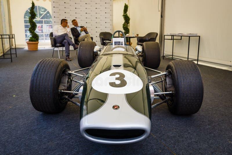 Bieżny samochód Formula-2, Brabham BT23-5, pilot Jochen Rindt, 1967 fotografia stock