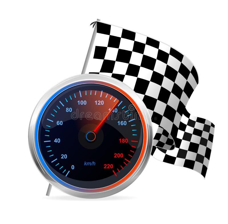 Bieżny szybkościomierz i w kratkę flaga. Wektor royalty ilustracja