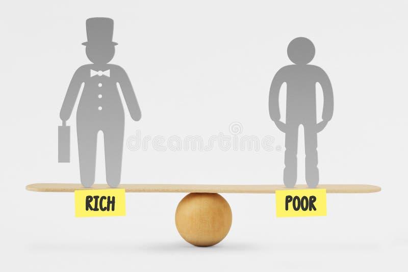 Bieda i bogaci ludzie na równowagi skali - pojęcie ogólnospołeczna równość fotografia royalty free