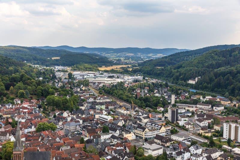 Biedenkopf historisk stad hesse Tyskland från över arkivfoton
